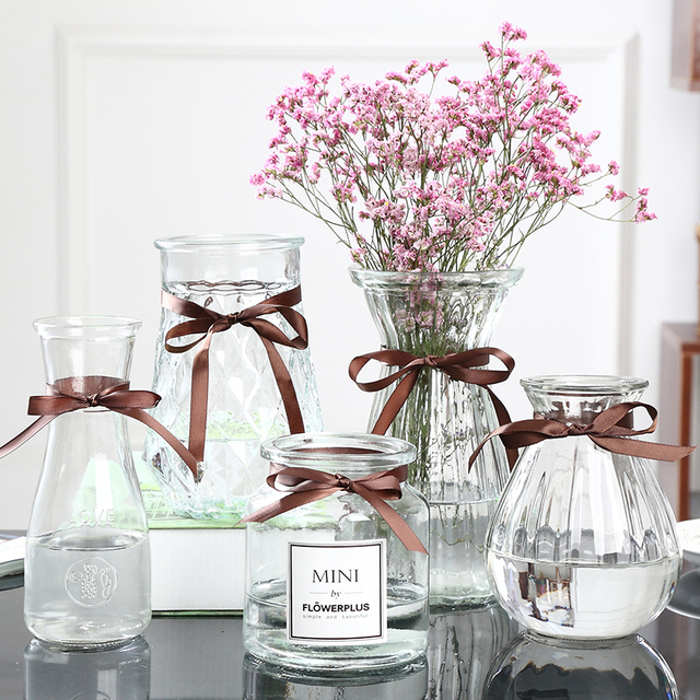 Diamond Transparent Glass Vase with Lace for Home Living Room Hydroponic Flower Arrangement Glass Flower Pot Dry Flower Bottle & Diamond Transparent Glass Vase with Lace for Home Living Room ...