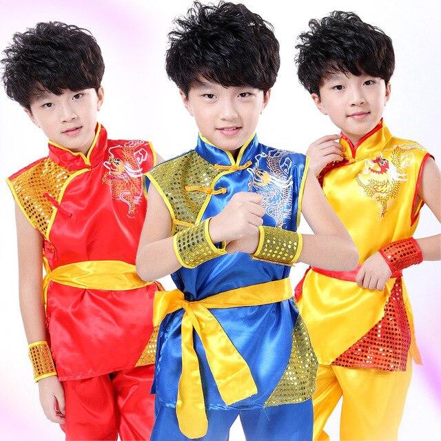 Мальчик/Девушки Китайский Народный Танец Традиционный Китайский Одежды Костюм Кунг-Фу Одежда детские Национальные Костюмы Танец
