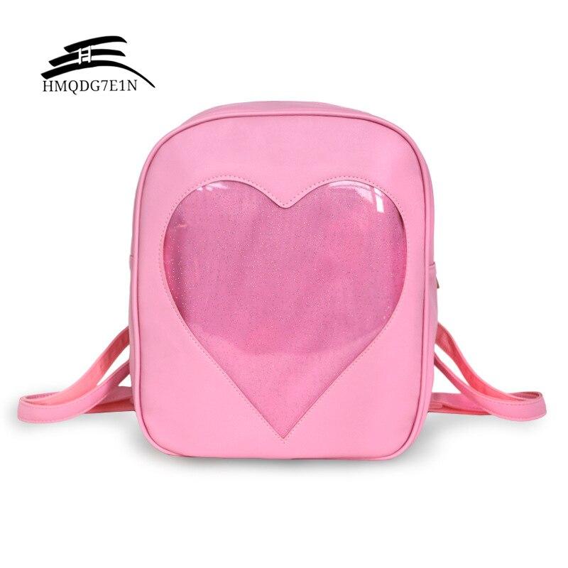 Summer Candy Women Backpacks Transparent Love Heart Shape Harajuku School Backpack Shoulder Bags For Teenager Girls Book Bag