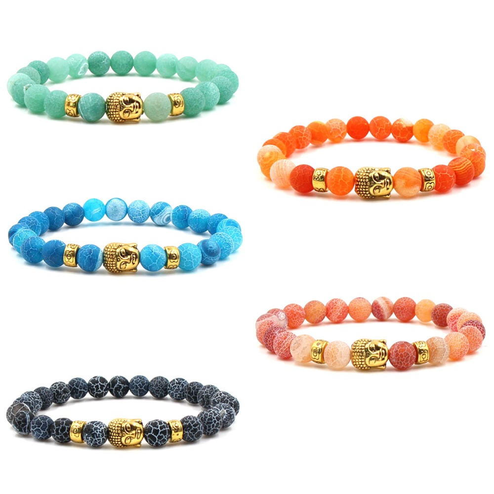 Buddha head Stone Mens Beaded Jewelry 8mm Lava Stone Beads Bracelets Party Gift Stretch Yoga Jewelry