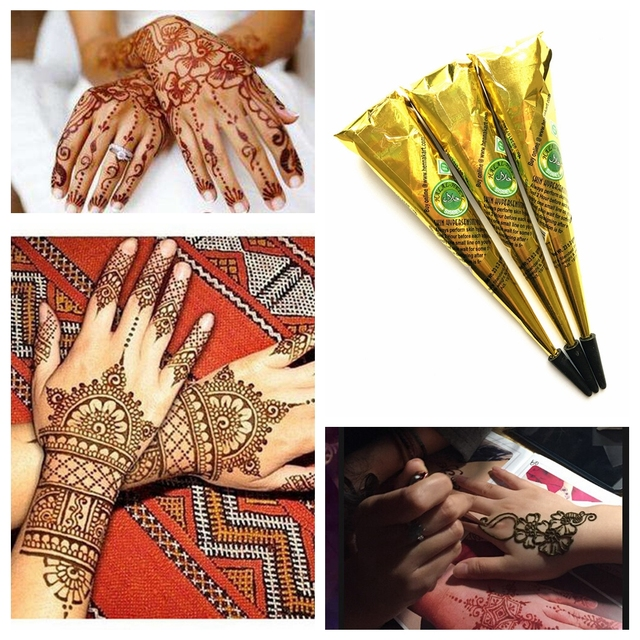 Henna Tattoo Color Brown: 3PCS/LOT Indian Henna Tattoo Paste Brown Ink Color