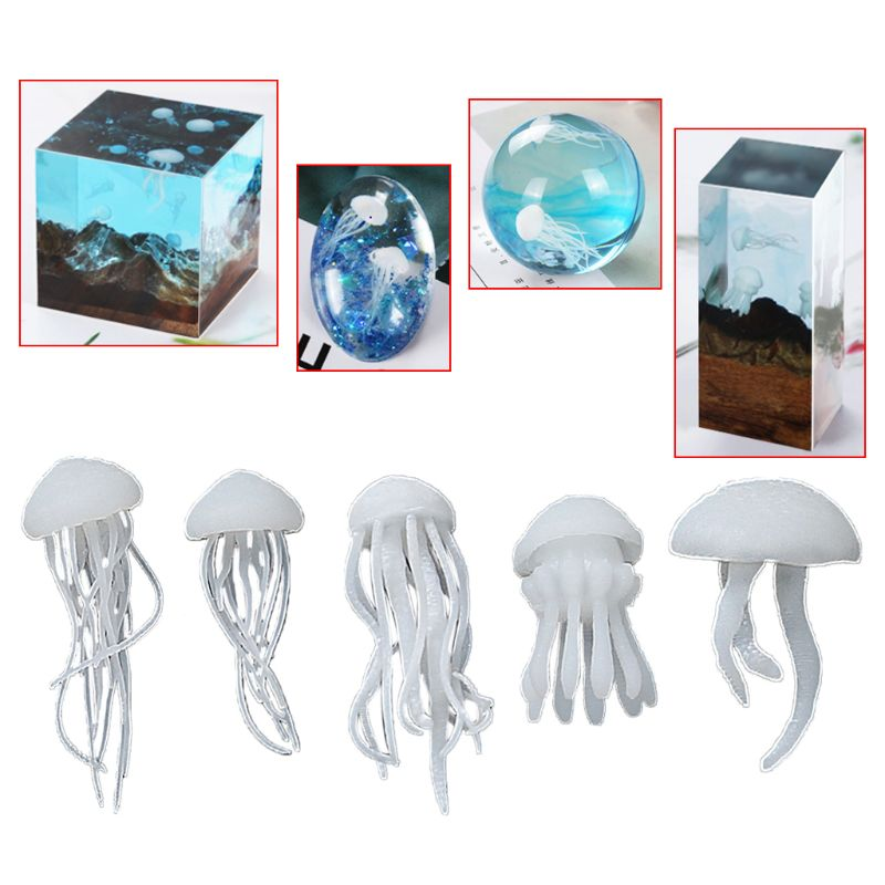 5 Pcs/set Crystal Epoxy Ocean Jellyfish Modeling Filler DIY Crafts Filling Supplies UV Accessories Decoration Materials
