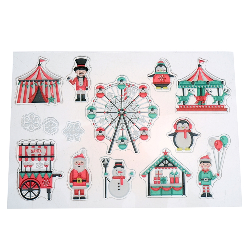 Christmas Santa Claus Clear Stamp Scrapbooking Stamp Roses Sky Wheel Album Card Embossing Transparent Stamp Template 16x11cm