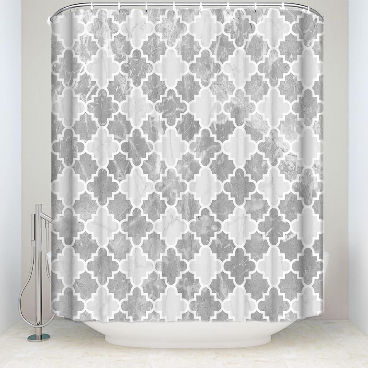 Водонепроницаемая винтажная занавеска для душа с марокканским узором и крючками, Геометрическая занавеска из полиэстера для ванной комнат...