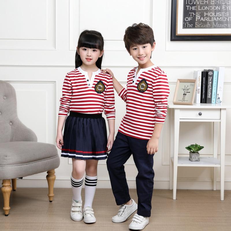 Neutral Pink Striped School Uniform