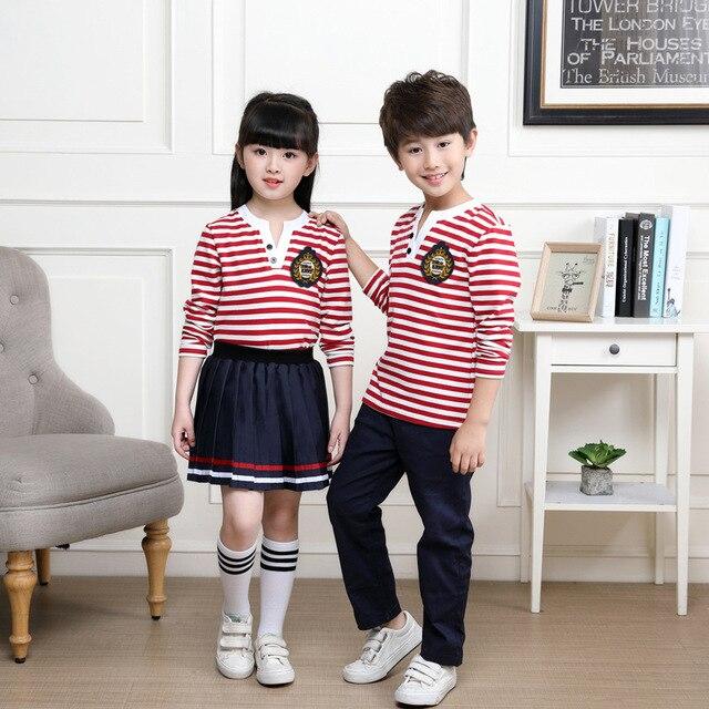 Kids Neutral Pink Striped School Uniform Boys S Summer Skirt Shirts Kindergarten Uniforms Children Nursery Suit