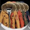 2016 dos homens novos Para Baixo Casacos Mens Marca Grosso Gola de Pele Quente Jaqueta de Inverno Pato com capuz Para Baixo Casaco Casual Masculino Homens chaqueta hombre