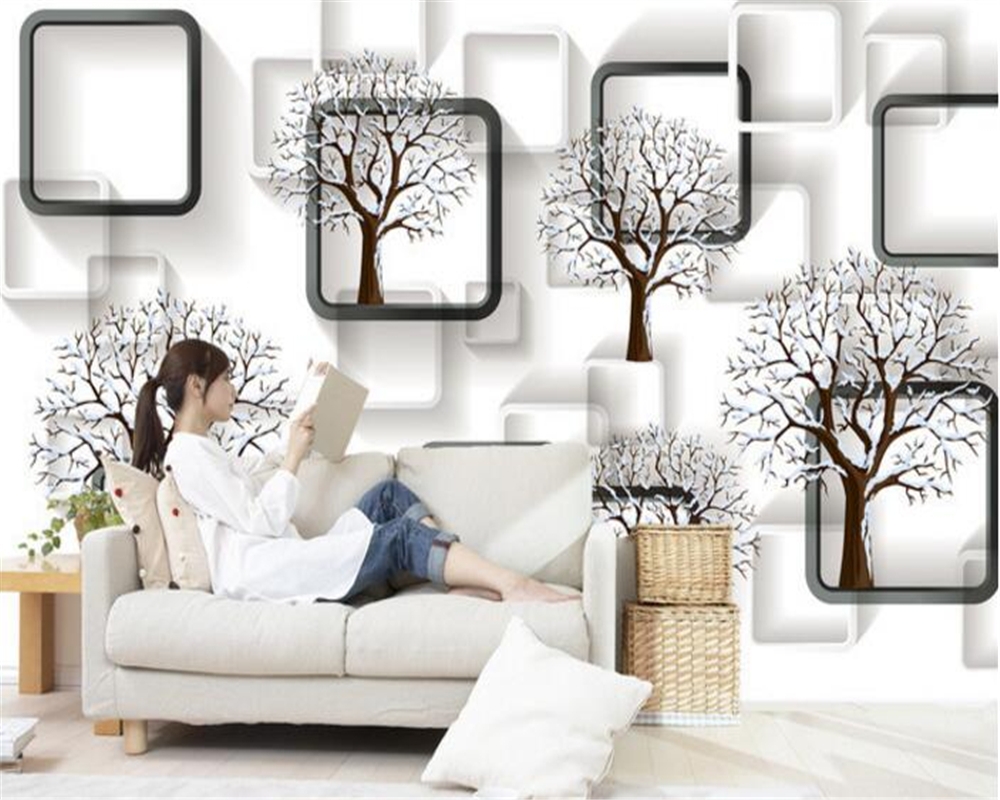 Beibehang Custom Wallpaper Black And White Box 3D Tree Stereo Simple  Background Wall Living Room Bedroom TV Background 3d Mural  In Wallpapers  From Home ...