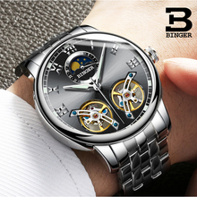 6d418daaaaf Design de moda Duplo Turbilhão Homens Relógio BINGER Relógio Mecânico  Automático Famosa Marca de Luxo Relógio relogio masculino .