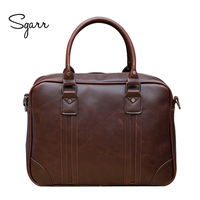 Large Capacity Famous Brand Crazy Horse Leather Business Man Briefcase 14inch Laptop Bag Casual Men S