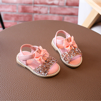 Cute Bow Knot Sequined Baby Sandals Pink Ankle Strap Hook Loop Summer Children Shoes Princess Sandal