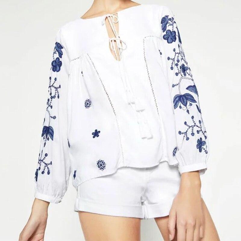 Mujeres de la manera Bordado Blanco Blusas Camisa Étnico Manga Larga Con Flecos