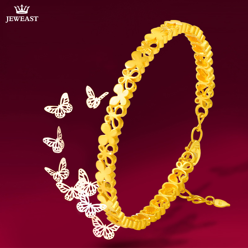 24K Pure Gold Bracelet Real 999 Solid Gold Bangle Simple Beautiful Butterfly Trendy Classic Party Fine Jewelry Hot Sell New 2018 24k pure gold bracelet real 999 solid gold bangle elasticity no deformation trendy classic party fine jewelry hot sell new 2018