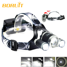 New BORUiT B21 High Power LED Head Torch Lamp Cree XM-L2+2xXPE LED Headlamp Rechargeable Night Riding Headlight Headlamp