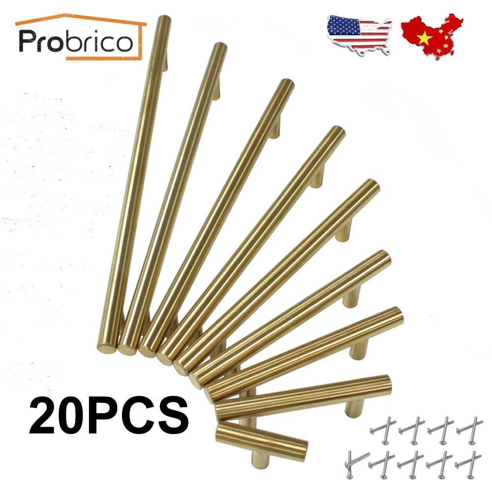Probrico 20 PCS Stainless Steel Gold Diameter 12mm Hole Center 50mm~256mm Kitchen Cabinet Door Knob Furniture Drawer Handle Pull probrico 10mm 20mm square bar handle stainless steel hole spacing 128mm cabinet door knob furniture drawer pull pddj30hss128