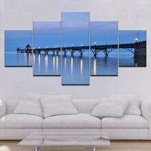 5 Pieces Canvas Wall Art Pictures Modern Living Room Decor Blue Sky Wooden Bridge Night Light Landscape Print Poster Framed