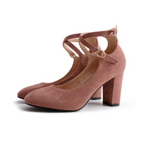 84074fdfb50a women pumps Square Suede Thick with High heels shoes