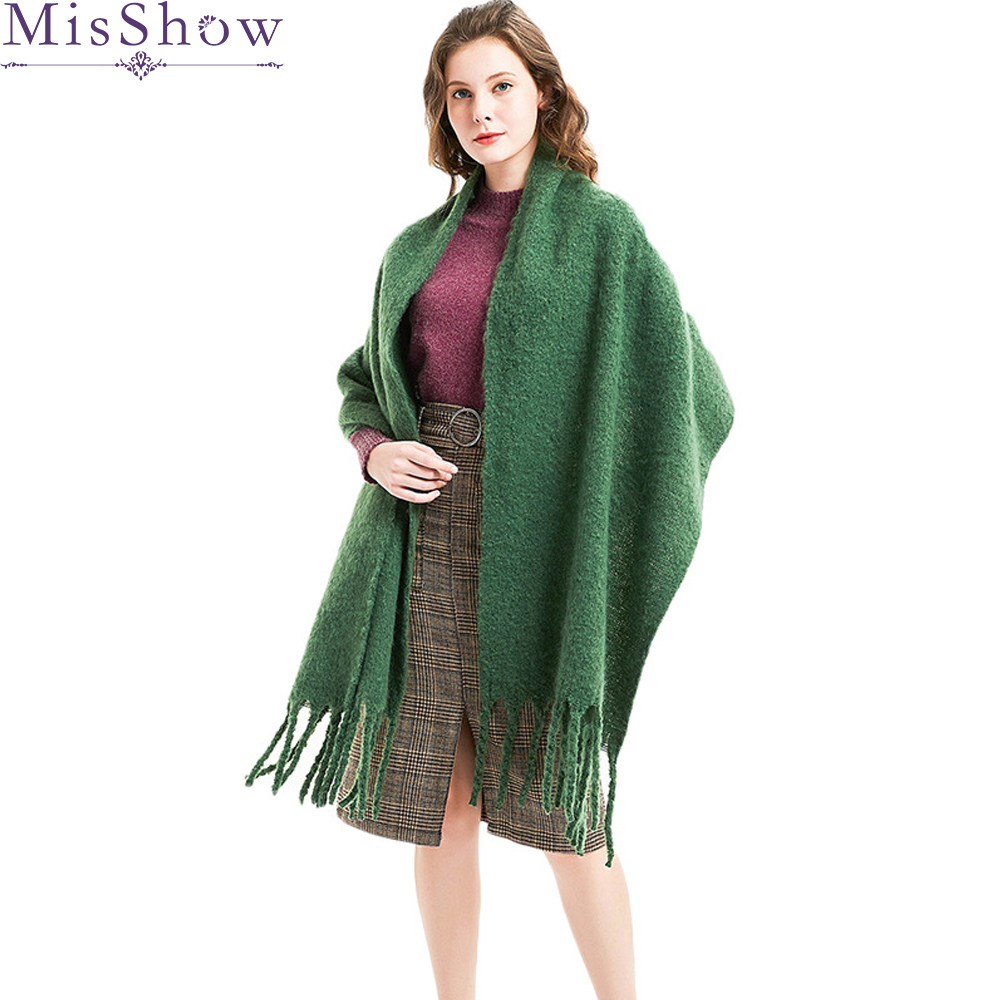 2019 Winter Thick Knitting Women   Scarves   Warm Long Tippet Shawls and   Wraps     Scarves   Multi-purpose Fashion Cotton   Scarf   For Female
