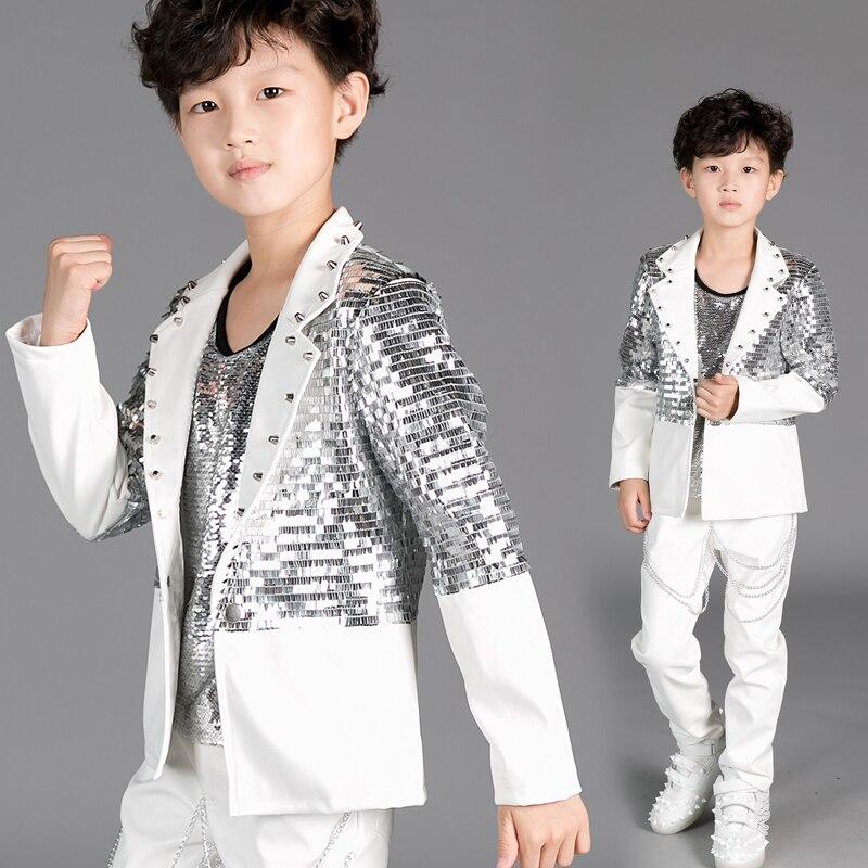 Les nouveaux garçons veste costume pailleté enfants piano danse chorus costumes scène vêtements modérateur