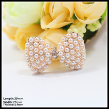 8pcs lot 30mm bow ivory flat back rhinestone metal pearl Diamonds button  wedding embellishment hair 4fc1432326cb
