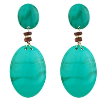Lots Colors Vintage Punk Color Resin Drop Oval Bead Dangle Earring Women Female Girl Party Jewelry