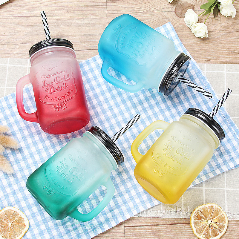 Creative Mason Jar Mugs Metal lid Glasses Water Bottle with Straw Colorful Classic Insulated Tumbler BPA-free H1106