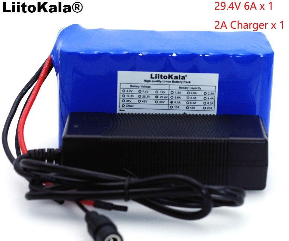 LiitoKala 24 v 6Ah Cyclomotor 7S3P 18650 BMS Bicicleta Elétrica Da Bateria 29.4 v 6000 mah/Elétrica/Bateria do Li-íon + carregador de 29.4 v 2A