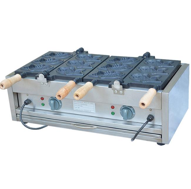 Free Shipping 220V Electric 6 Pcs Fish Taiyaki Maker Machine With Recipe Fish Waffle Baker