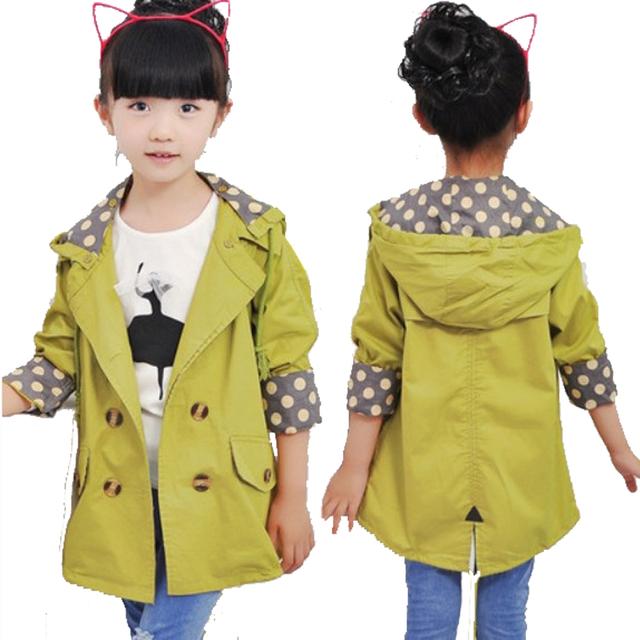 Chaqueta de las muchachas de los niños ropa de niños grandes de primavera y otoño niño medio-largo 2016 de doble botonadura bebé prendas de vestir exteriores de la muchacha gabardina