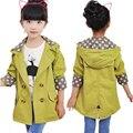 Meninas jaqueta de roupas infantis crianças grandes primavera & outono criança 2016 de médio-longo double breasted outerwear bebê menina trench coat