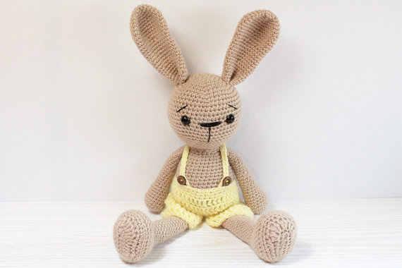 Crochet beige plush bunny,Big amigurumi bunny,Velour sleeping toy ... | 380x570