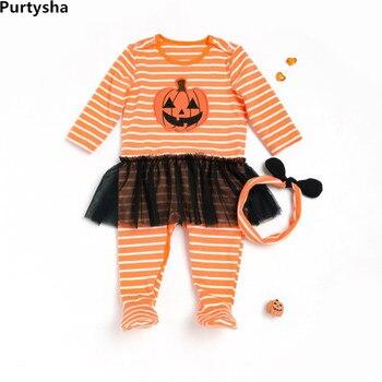Bebé recién nacido Ropa 0-3 meses Halloween mono de manga larga falda de  tul amarillo rayas mameluco del bebé orgánico ropa eef3b5b7684d