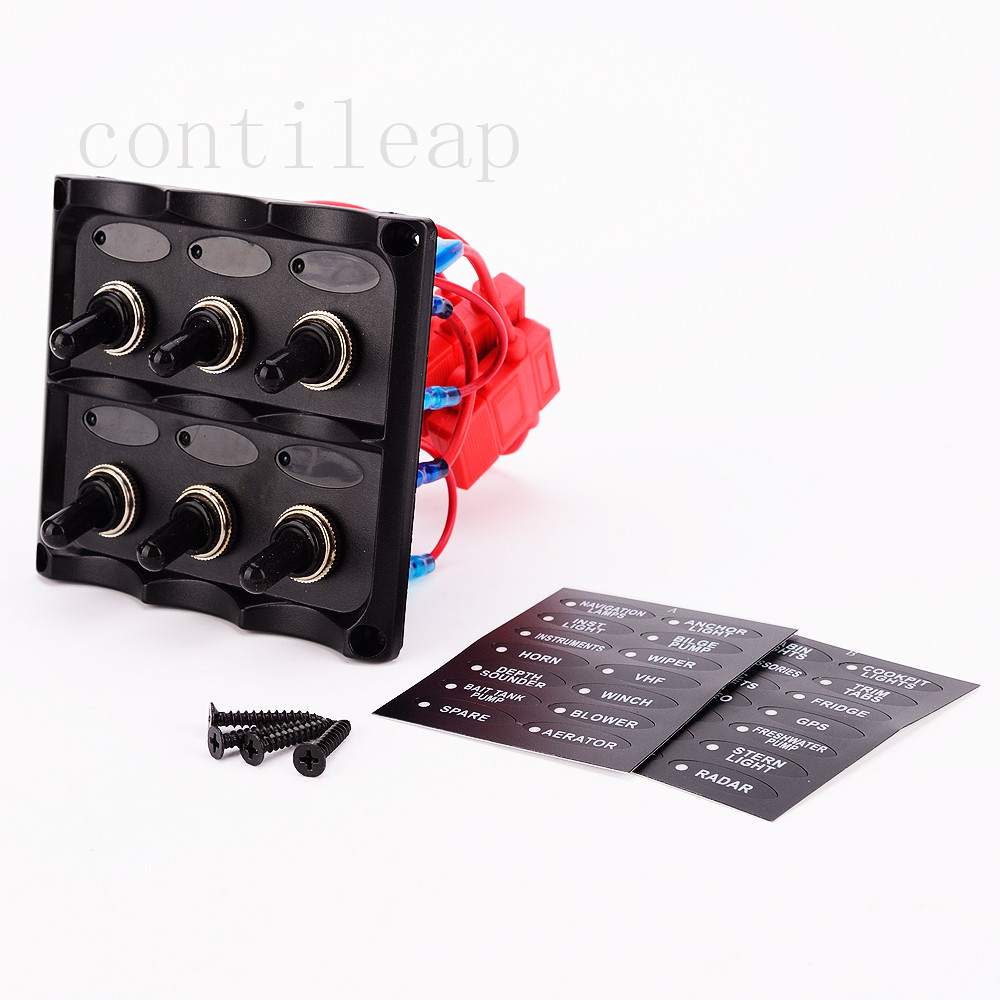 Marine Electric 6 Gang Led Toggle Switch Panel for Boat truck and RVS image
