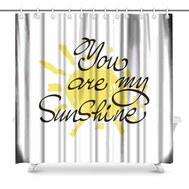 Aplysia You Are My Sunshine Inspirational Quote Valentines Day Bathroom Decor Shower Curtain Set With Hooks