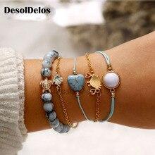 4Pcs/Set Bohemian Shell Letter Bracelets Set For Women Girl Chain & Link Pineapple Bracelet & Bangles Charm Female Jewelry