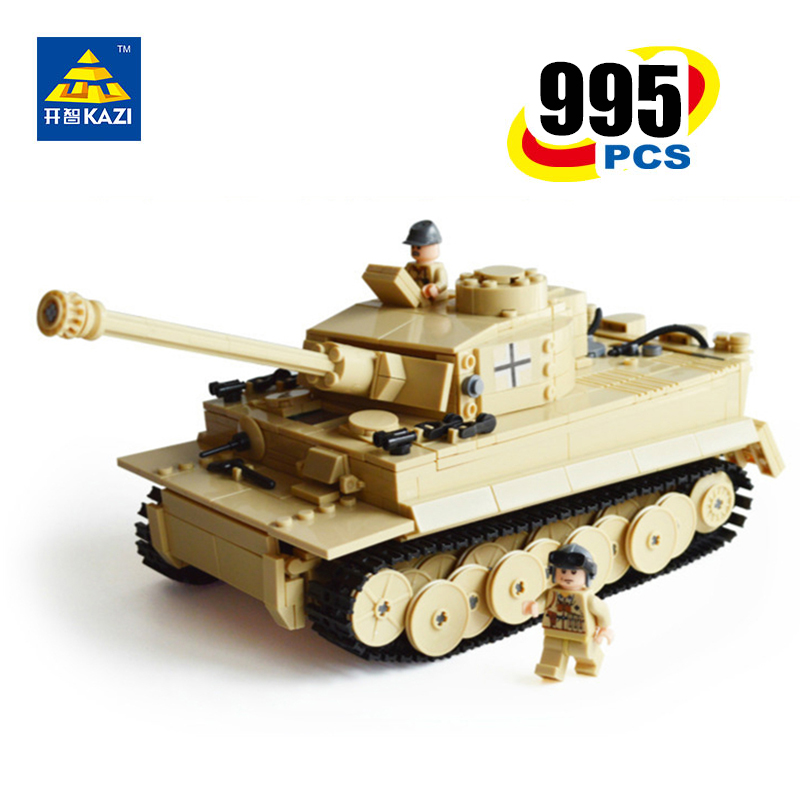 KAZI Tiger Tank Building Blocks Model Military Bricks Intelligence Brinquedos Gift Educational Toys for Kids 6+Ages 995pcs 82011 kazi military building blocks army brick block brinquedos toys for kids tanks helicopter aircraft vehicle tank truck car model
