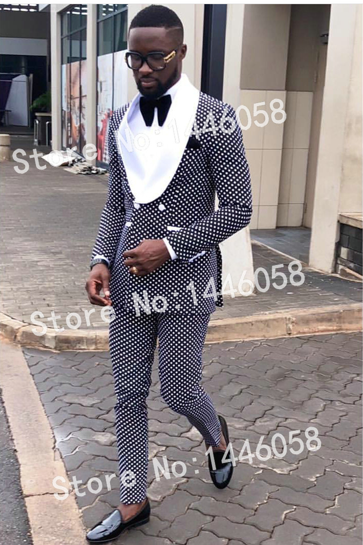 2018 Formal Party Suit Men Groom Tuxedos Costme Homme Terno Blazer Shawl Lapel Double Breasted Men Wedding Suits Best Man Suit