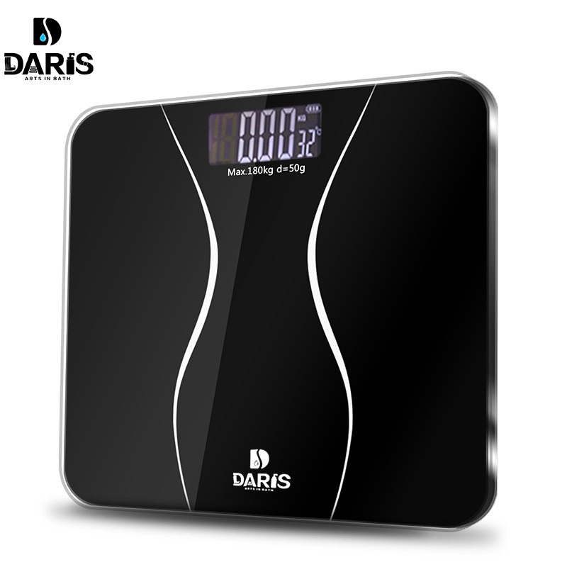 SDARISB Bathroom Scales Floor Body Smart Electric Digital Weight Health Balance Scale Toughened Glass LCD Display