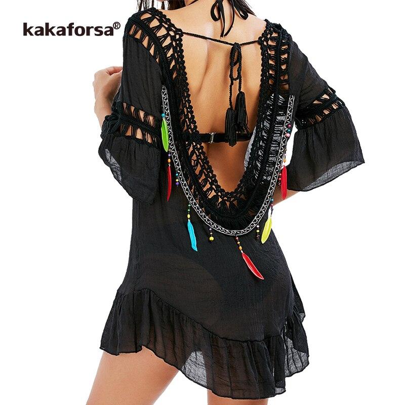 Kakaforsa 2017 Women Sexy Backless Beach Cover Up Crochet Tunic Tassel Bikini Cover Up Summer Black Swim Ruffles Beach Dress striped tunic dress beach cover up with sleeves