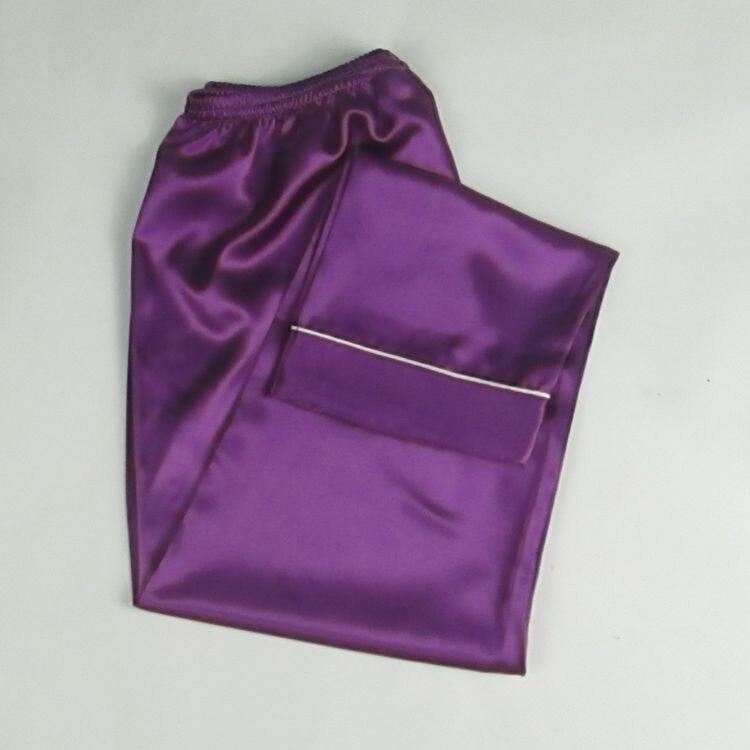S-3XL Home Pants Summer Faux Silk Pajama Pants Bottom Pajama Ladies Lounge Pants Womens Sleep Bottoms Black/White E1132