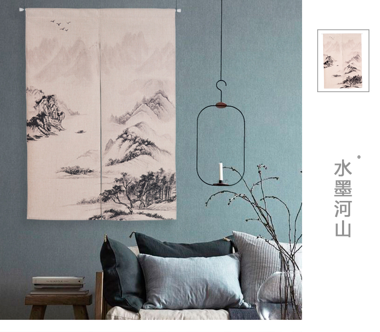 Landscape river ink painting curtain cloth art study Chinese wind door curtain porch blinds sitting living room decoration