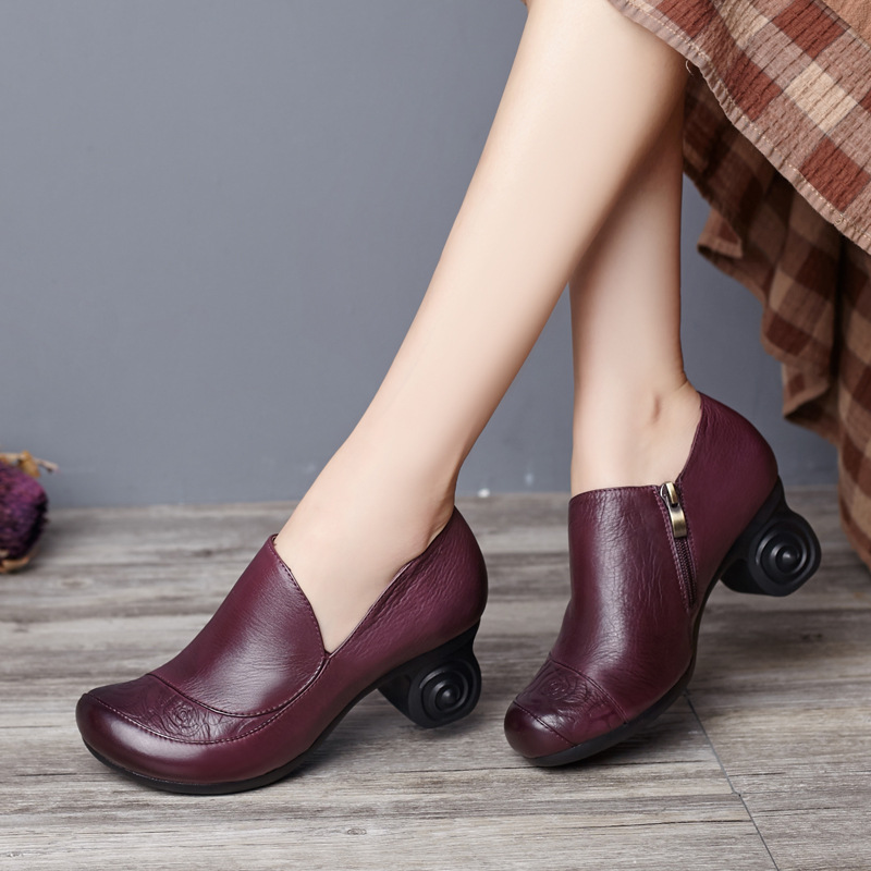 ФОТО Full Grain Leather Middle-aged Women Pumps Mother Shoes High Heel Shoes Round Toe Vintage Handmade Shoes