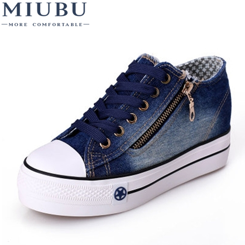 MIUBU Free Shipping New Canvas Shoes Fashion Leisure Women Shoes Female Casual Shoes Jeans Blue 35-40 free shipping candy color women garden shoes breathable women beach shoes hsa21