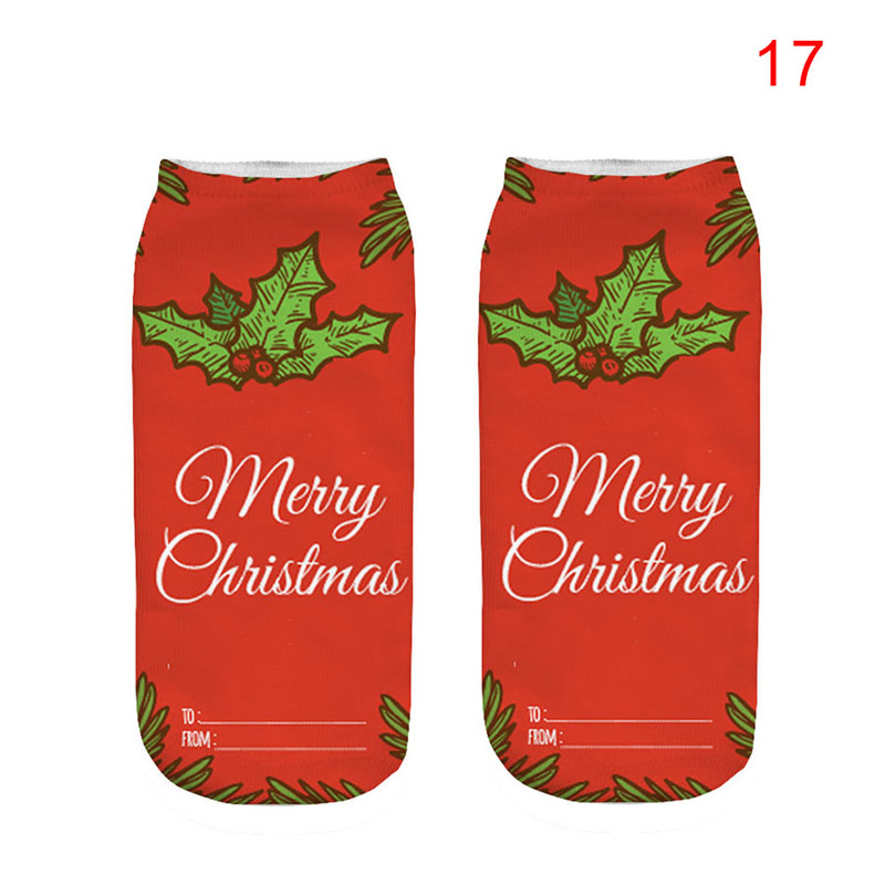 1 Pair Christmas Women Casual Socks Cute Unisex Low Cut 3D Printed Ankle Socks -MX8