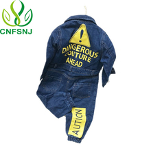 CNFSNJ new Baby Boy Girls Costume Cowboy Fashion Jeans Children Soft Denim Baby Romper Graffiti Infant Clothes Newborn Jumpsuit