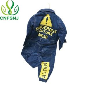 Image 1 - CNFSNJ new Baby Boy Girls Costume Cowboy Fashion Jeans Children Soft Denim Baby Romper Graffiti Infant Clothes Newborn Jumpsuit