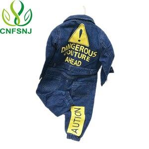 Image 1 - CNFSNJ nowy Baby Boy dziewczyny kostium kowbojskie modne dżinsy dzieci miękkie Denim dziecko Romper Graffiti odzież dla niemowląt kombinezon dla noworodka