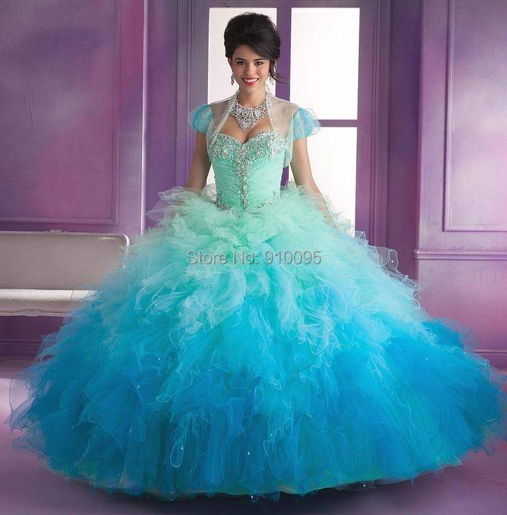 Blue Sweet 16 Ball Gown Masquerade Ball Dresses 2015