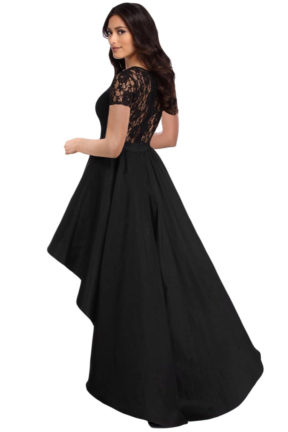 Zmvkgsoa Party Gowns Royal Black Lace Bodice Elegant Short Sleeve ...