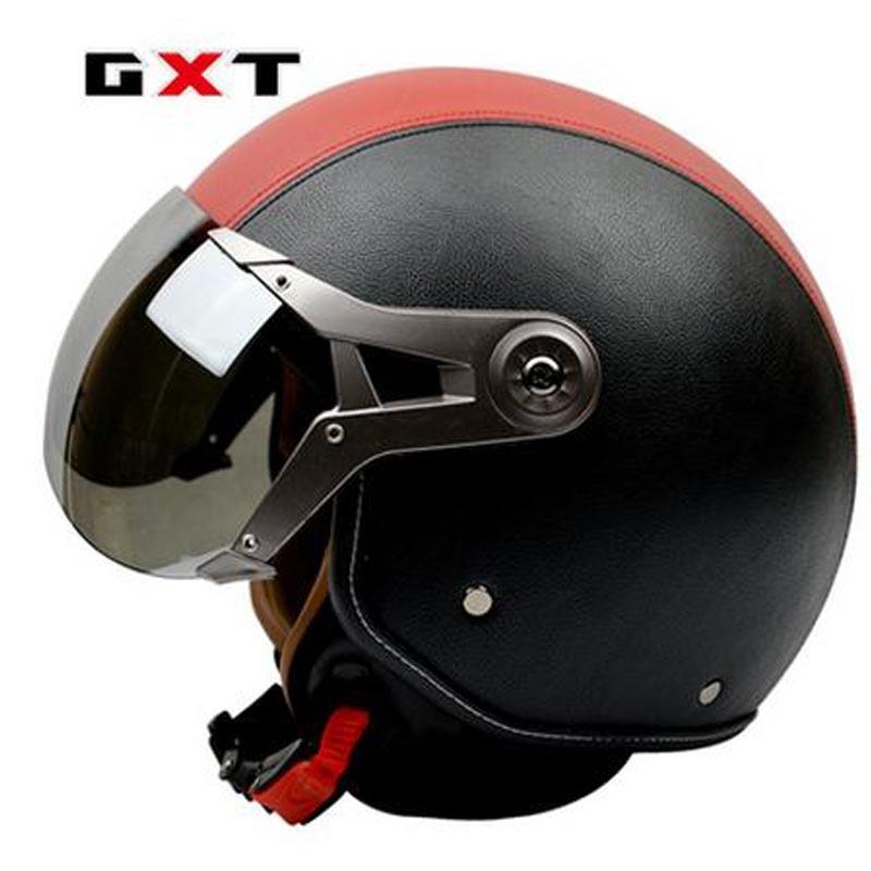 GXT pu leather motorcycle motorbike helmet retro harley motos half helmets unisex casco moto capacete ...